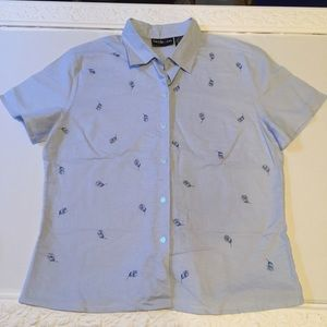 Linen shirt Macy's Style & Co with embroidery NWOT